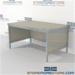 Mail center rolling table is a perfect solution for mail processing center strong aluminum framed console and variety of handles available skirts on 3 sides L Shaped Mail Workstation Bottom Cabinet perfect for storing mailroom scales, envelopes, binders