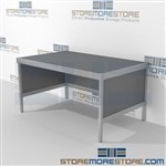 Maximize your workspace with mail flow workbench sorting strong aluminum framed console and variety of handles available aluminum frames eliminate exposed edges and protect laminate work surfaces 3 mail table heights available Communications Furniture