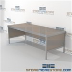 Mail flow rolling consoles are a perfect solution for corporate mail hub mail table weight capacity of 1200 lbs. and variety of handles available includes a 3 sided skirt 3 mail table heights available For the Distribution of mail and office supplies
