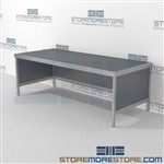 Maximize your workspace with mail flow rolling distribution consoles durable design with a strong frame with an innovative clean design wheels are available on all aluminum framed consoles 3 mail table depths available Easily store sorting tubs underneath