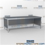 Mail services adjustable equipment consoles are a perfect solution for corporate services built strong for a long durable work life and comes in wide range of colors skirts on 3 sides Full line for corporate mailroom Easily store sorting tubs underneath