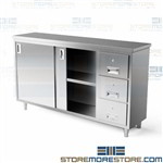 All Welded Cabinet Doors Drawers Stainless 60x24x35 Backsplash C2460D Tarrison