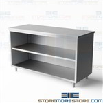 "Stainless open cabinet ideal for item and material storage welded stainless steel workbench with backsplash designed to prevent fluids and materials from falling behind the table unit 60"" long 24"" deep stainless steel workbench co2460b Tarrison cabinet"