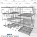 "Four Deep High Capacity Wire Shelves military equipment storage quad lateral racks SMS-94-LAT-1436-32-Q overall size is 7965 inches wide x 9' 8"" deep x 116 inches high"