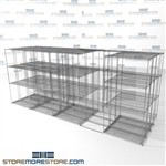 "Quad Deep Sliding Wire Racking manual push chrome wire shelves 4 deep SMS-94-LAT-1436-54-Q overall size is 14251.8 inches wide x 16' 1"" deep x 193 inches high"