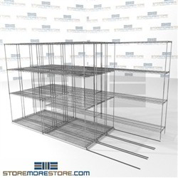 "4 Deep High Density Wire Shelves chrome wire quad-store manufacturing racks SMS-94-LAT-1442-32-Q overall size is 8274.2 inches wide x 11' 2"" deep x 134 inches high"