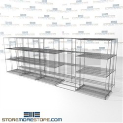 "Three Deep Sliding Wire Racks automotive stuff storage for tools with rolling base SMS-94-LAT-1442-54-T overall size is 10238.4 inches wide x 18' 7"" deep x 223 inches high"