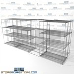 "Three Deep Gliding Wire Racking carton film shelves moving carrage on wheels SMS-94-LAT-1448-43-T overall size is 8328.4 inches wide x 16' 11"" deep x 203 inches high"