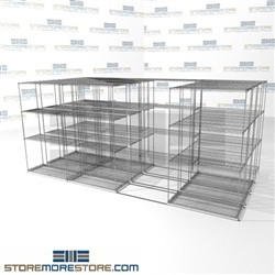 "4 Deep Sliding Wire Shelving quad lateral box shelving for bulk items SMS-94-LAT-1836-43-Q overall size is 11357 inches wide x 12' 11"" deep x 155 inches high"