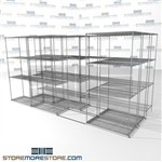 "3 Deep Moving Wire Racking tir-lateral box storage chrome wire racks SMS-94-LAT-1836-43-T overall size is 7799.6 inches wide x 12' 11"" deep x 155 inches high"