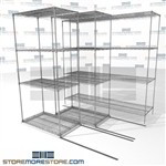 "Triple Deep Side To Side Wire Shelves 4 shelves with high storage capacity SMS-94-LAT-2136-21-T overall size is 3504.4 inches wide x 6' 6"" deep x 78 inches high"