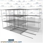 "3 Deep Sliding Wire Shelving Moveable four shelf wire racks on tracks SMS-94-LAT-2142-32-T overall size is 6045.6 inches wide x 11' 2"" deep x 134 inches high"