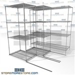 "Triple Deep Moving Wire Shelves moving side to side zinc wire shelves SMS-94-LAT-2436-21-T overall size is 3579.8 inches wide x 6' 6"" deep x 78 inches high"