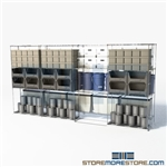 "2 Deep Moveable Wire Racks canned goods gliding chrome wire shelves SMS-94-LAT-2436-43 overall size is 4602.5 inches wide x 12' 11"" deep x 155 inches high"
