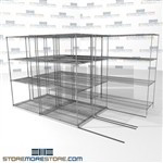"3 Deep Rolling Wire Shelving food service zinc wire shelves on rails SMS-94-LAT-2442-32-T overall size is 6200.8 inches wide x 11' 2"" deep x 134 inches high"