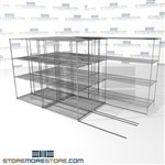 "Triple Deep Moveable Wire Shelving manufactruing automotive zinc wire shelves SMS-94-LAT-2448-32-T overall size is 6496 inches wide x 12' 8"" deep x 152 inches high"