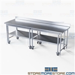 Stainless Nesting Tables Backsplash Chemical Mixing Worktables NT4BS3096-72