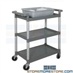 Plastic Shelf Cart Three Level Pushcart Tarrison BC1632