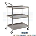 Stainless Shelf Cart Three Level Pushcart Tarrison BC1836S