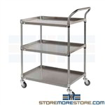 Stainless Cart Shelves Rolling Platform Pushcart 3 Levels Tarrison BC2436S