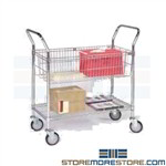 Wire Mail & Package Cart Mailroom Delivery Pushcart Basket Shelf MDC1836C-1