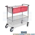 Wire Mailroom Cart Mail Basket Hanging Folder Pushcart MDC1836C-2
