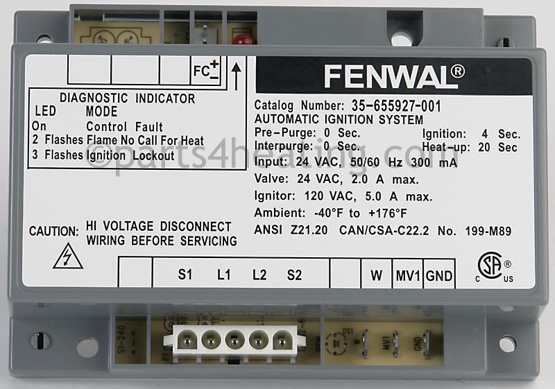 parts4heating com fenwal 35 655927 001 ignition control 24 vac hot rh parts4heating com Solar Battery Bank Wiring Diagram Fenwal Ignition Controls