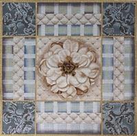 1062 Taupe & Blue Rose Collage