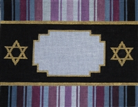 393e Mauve, Blue, & Black Striped Tallit Bag