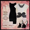 EN-6b Ecru & Black Dress Ensemble
