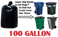 100 Gallon Trash Bags Super Big Mouth Trash Bags X-Large Industrial 100 GAL Garbage Bags XL Can Liners Extra Large