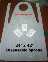 "24"" x 42"" Disposable Plastic Poly PE Aprons 1000ct"