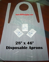 "28"" x 46"" Disposable Plastic Poly PE Aprons 1000ct"