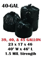 "40 Gallon Trash Bags 40 Gal Garbage Bags Can Liners - 23 x 17 x 46 - 40""W x 46L"" 1.5-MIL Gauge BLACK 100"