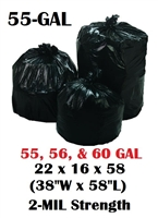 "55 Gallon Trash Bags 55 Gal Garbage Bags Can Liners - 22 x 16 x 58 - 38""W x 58""L 2-MIL Gauge BLACK 100"
