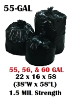 "55 Gallon Trash Bags 55 Gal Garbage Bags Can Liners - 22 x 16 x 58 - 38""W x 58L"" 1.5-MIL Gauge BLACK 100"