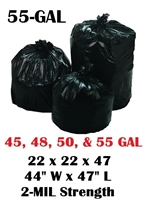 "55 Gallon Trash Bags 55 Gal Garbage Bags Can Liners - 22 x 22 x 47 - 44""W x 47""L 2-MIL Gauge BLACK 100"