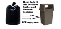 "56 Gallon Trash Bags 56 Gal Garbage Bags Can Liners - 43""W x 47""L 2-MIL Gauge BLACK 100"