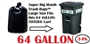 64 Gallon Trash Bags 64 GAL Garbage Bags Can Liners 3-Pack