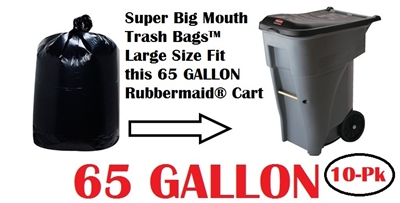 65 Gallon Trash Bags Super Big Mouth Trash Bags 10 Pack