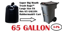 65 Gallon Trash Bags 65 GAL Garbage Bags Can Liners 3-Pack