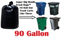 90 Gallon Trash Bags Super Big Mouth Trash Bags X-Large Industrial 90 GAL Garbage Bags XL Can Liners Extra Large