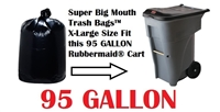 95 Gallon Garbage Bags Super Big Mouth Trash Bags X-Large Industrial 95 GAL Garbage Bags XL Can Liners Extra Large