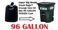 96 Gallon Trash Bags Super Big Mouth Trash Bags X-Large Industrial 96 GAL Garbage Bags XL Can Liners Extra Large