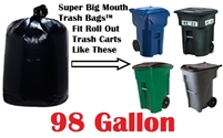 98 Gallon Trash Bags Super Big Mouth Trash Bags X-Large Industrial 98 GAL Garbage Bags XL Can Liners Extra Large