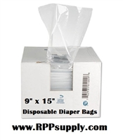 "9"" x 15"" Disposable Plastic Diaper Bags 1000ct"