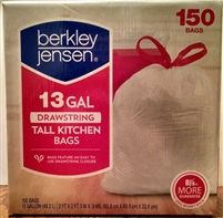 "Berkley & Jensen Brand White Tall Kitchen Garbage Bags  - 13 Gallon Capacity Trash Bags - Measure 2' x 2' 3"" & 0.9 MIL Gauge Strength - 150 Count"