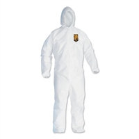 KCC-44323 - KLEENGUARD A40 Coveralls - with Elastic Cuff & Elastic Ankle and with Hood - White - LARGE - 25ct.