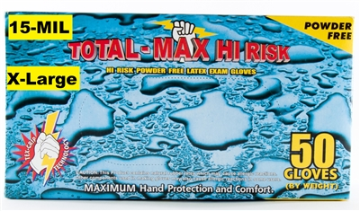 Emerald Gloves TOTAL-MAX Model 4602 XL Hi Risk Emergency, Police, EMT, Powder Free Latex Exam Gloves Size EXTRA LARGE - 2 x 50ct