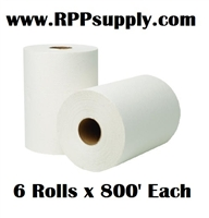 "8"" Bleached White Hardwound Commercial Dispenser Roll Towels 6 Rolls x 800' Each"